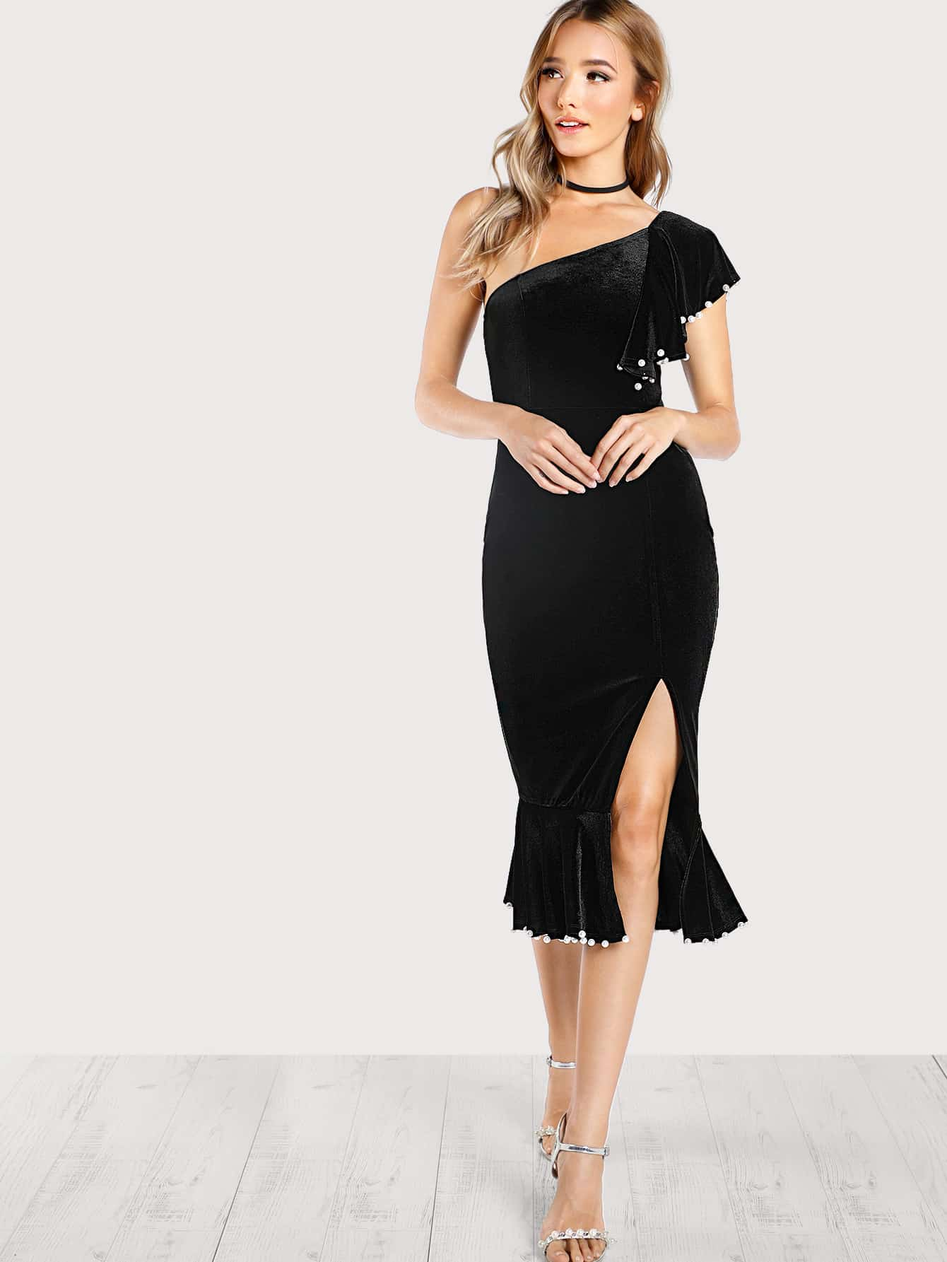 Pearl Detail Flounce One Shoulder Fishtail Dress frill layered pearl detail sweatshirt dress