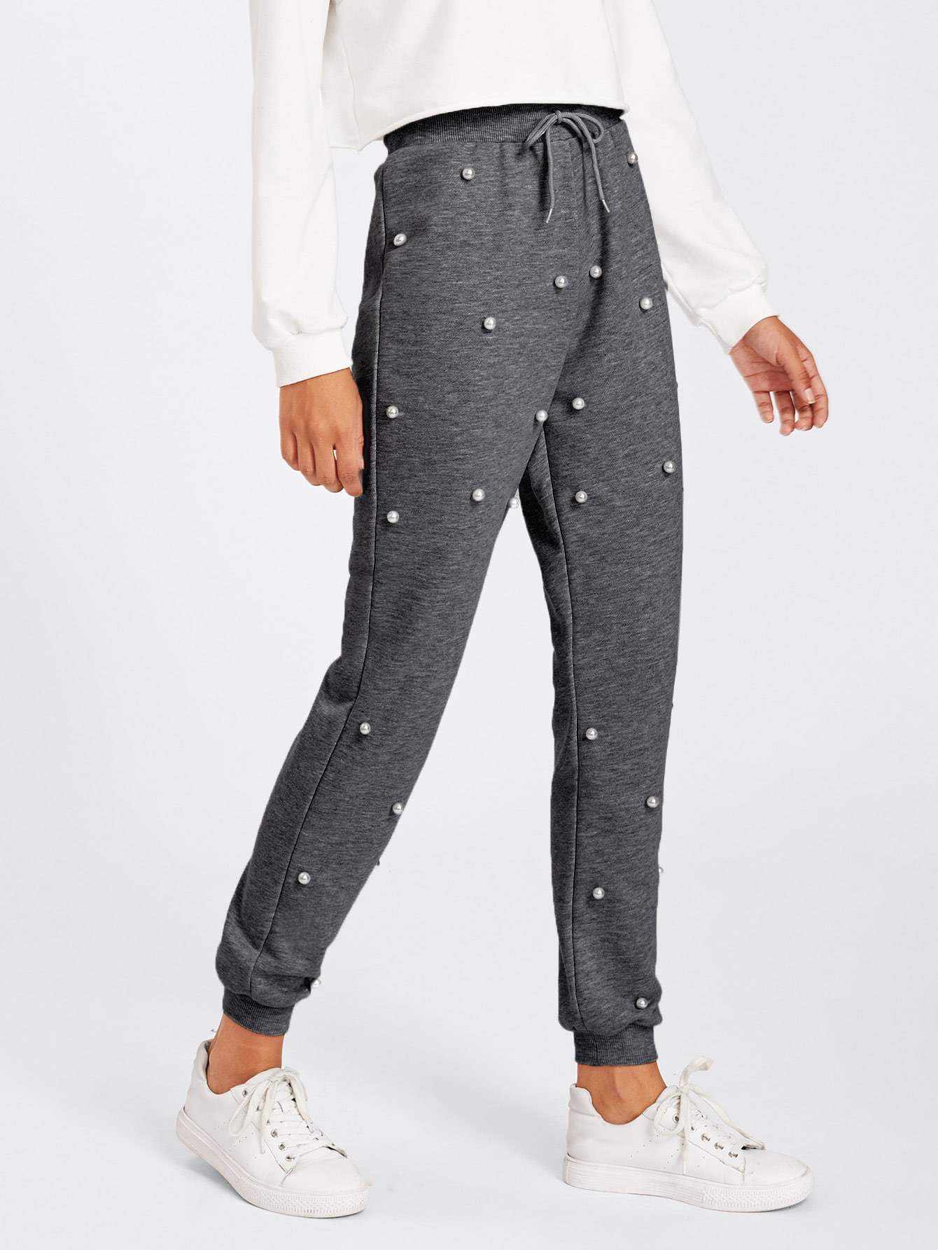 Pearl Beading Heathered Knit Sweatpants pants171115701