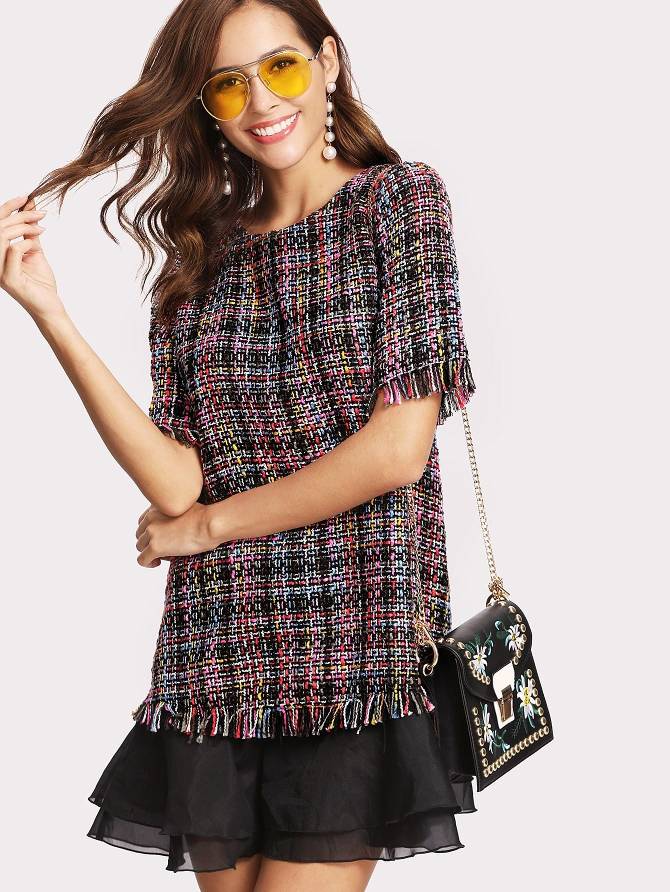 Contrast Ruffled Layered Hem Fringe Detail Tweed Dress frill layered pearl detail sweatshirt dress