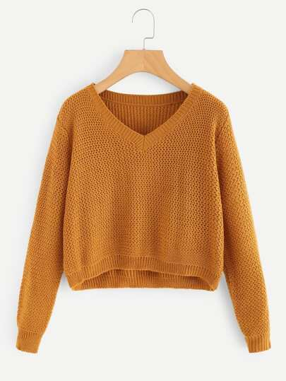 V-neckline Crop Jumper