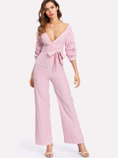 Gathered Sleeve Surplice Wrap Striped Jumpsuit