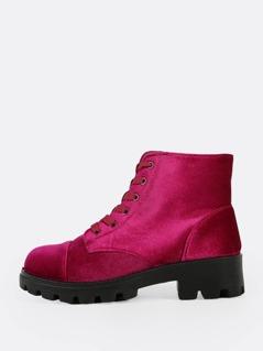Velvet Textured Sole Boot FUSCHIA