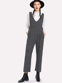Grid Double V Jumpsuit