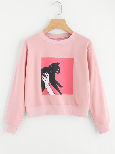 Cat Print Crop Sweatshirt