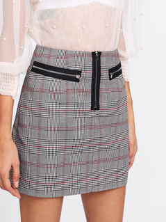 Zipper Up Pocket Plaid Skirt