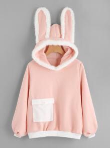 Rabbit Ear Hooded Contrast Trim Sweatshirt