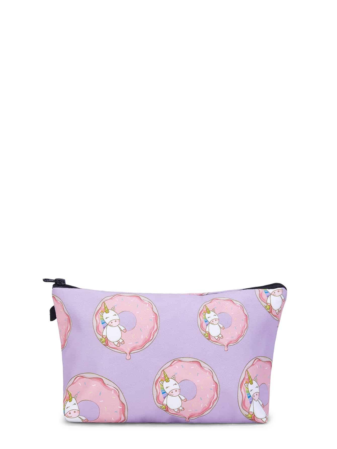 Unicorn & Doughnut Print Makeup Bag doughnut print pullover