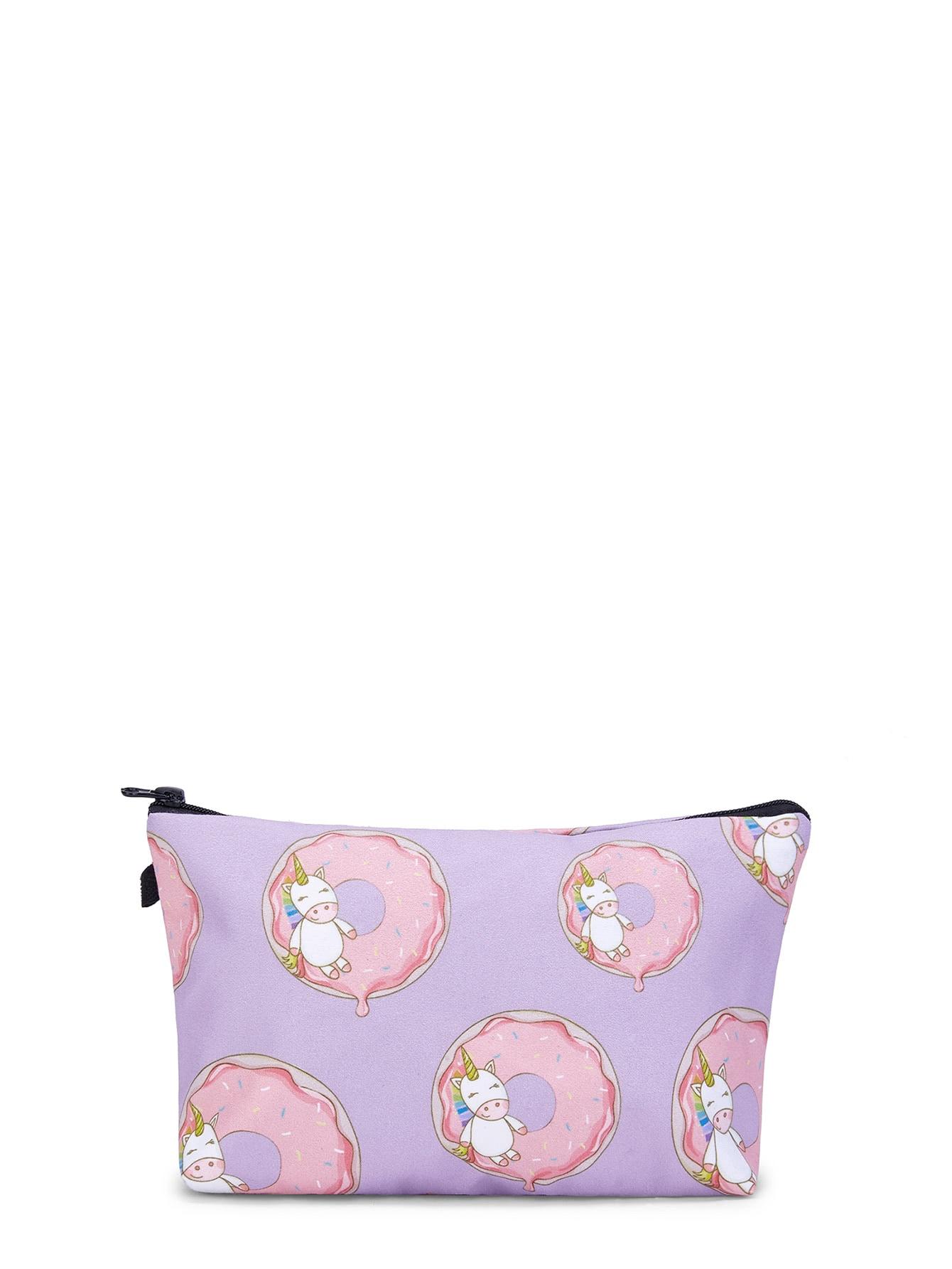 Unicorn & Doughnut Print Makeup Bag