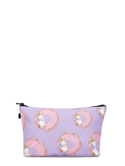 Unicorn & Doughnut Print Makeup Bag