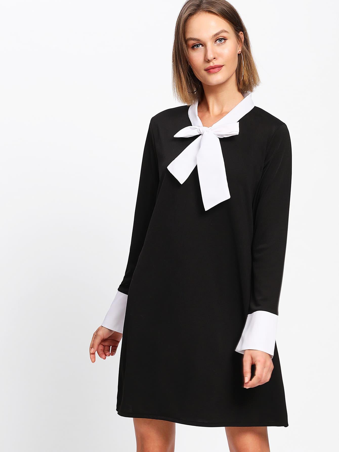 Contrast Self Tie Neck Shift Dress contrast tie neck faux pocket tweed dress