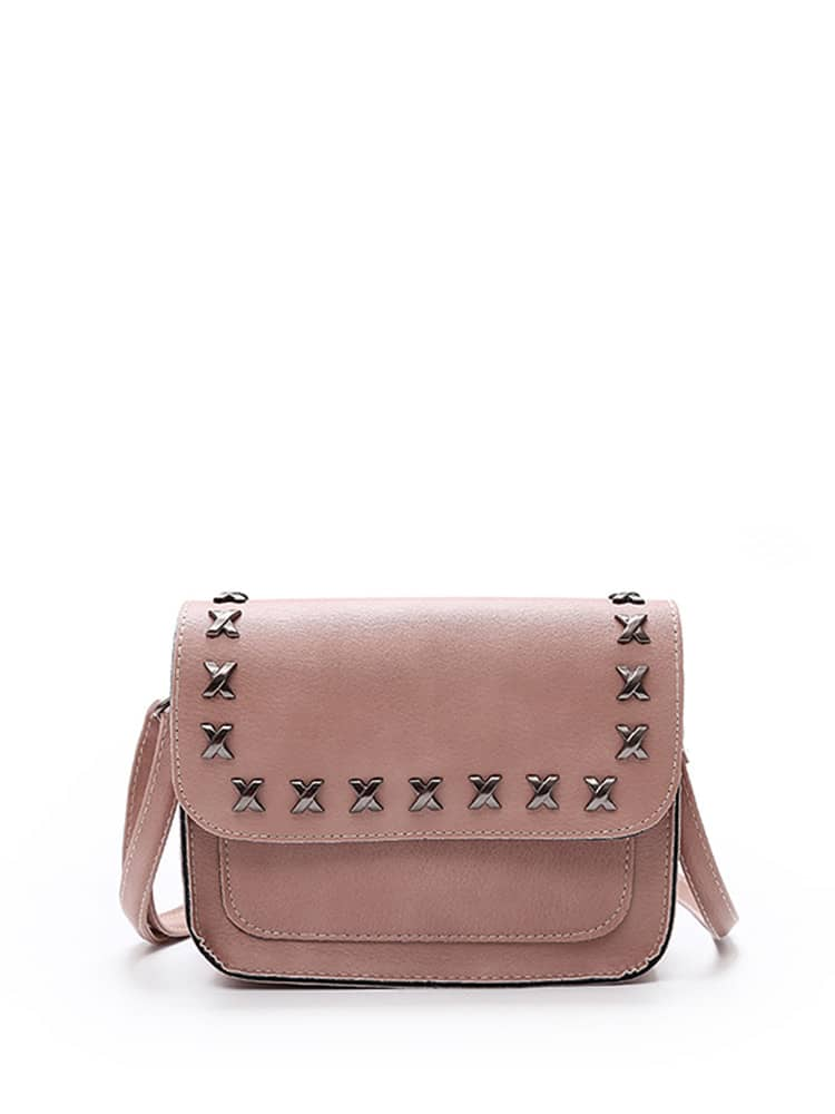 Metal Letter X Detail PU Crossbody Bag