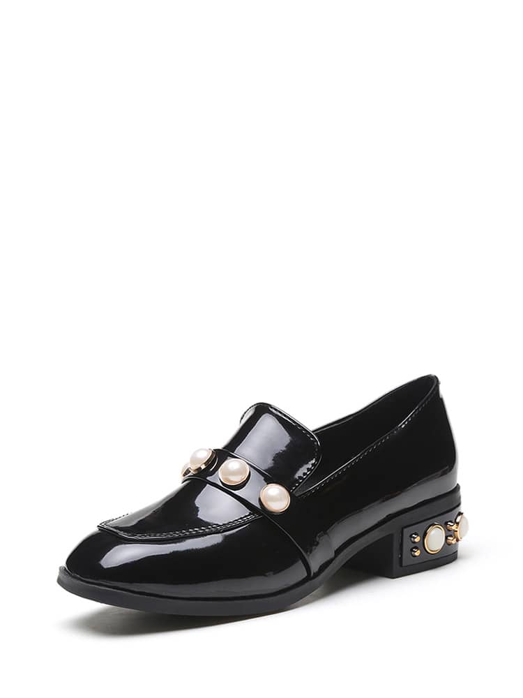 569a7febf12 Black Pearl Studded Patent Leather Low Heel Loafers · Faux Pearl Patent  Leather Heeled Loafers ...