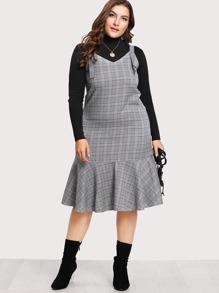 Dual V Neck Ruffle Hem Plaid Dress