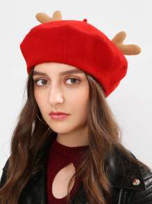 Christmas Antlers Beret Cap