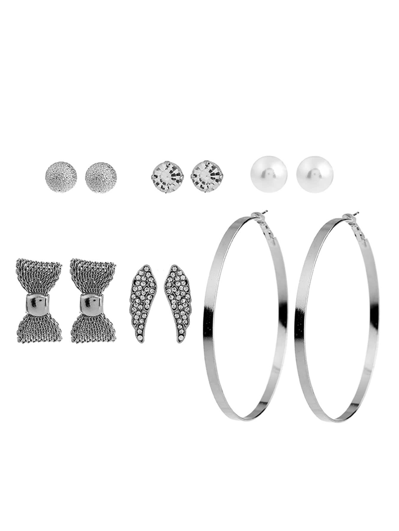 Bow & Round Design Earring Set