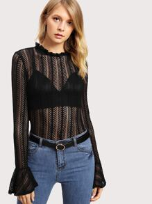 Flounce Sleeve Frill Detail Lace Top
