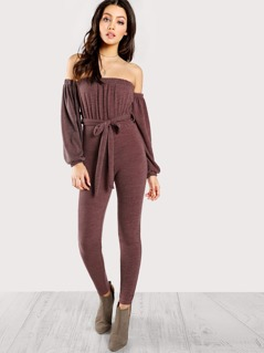 Off Shoulder Solid Cinched Waist Jumpsuit MAUVE