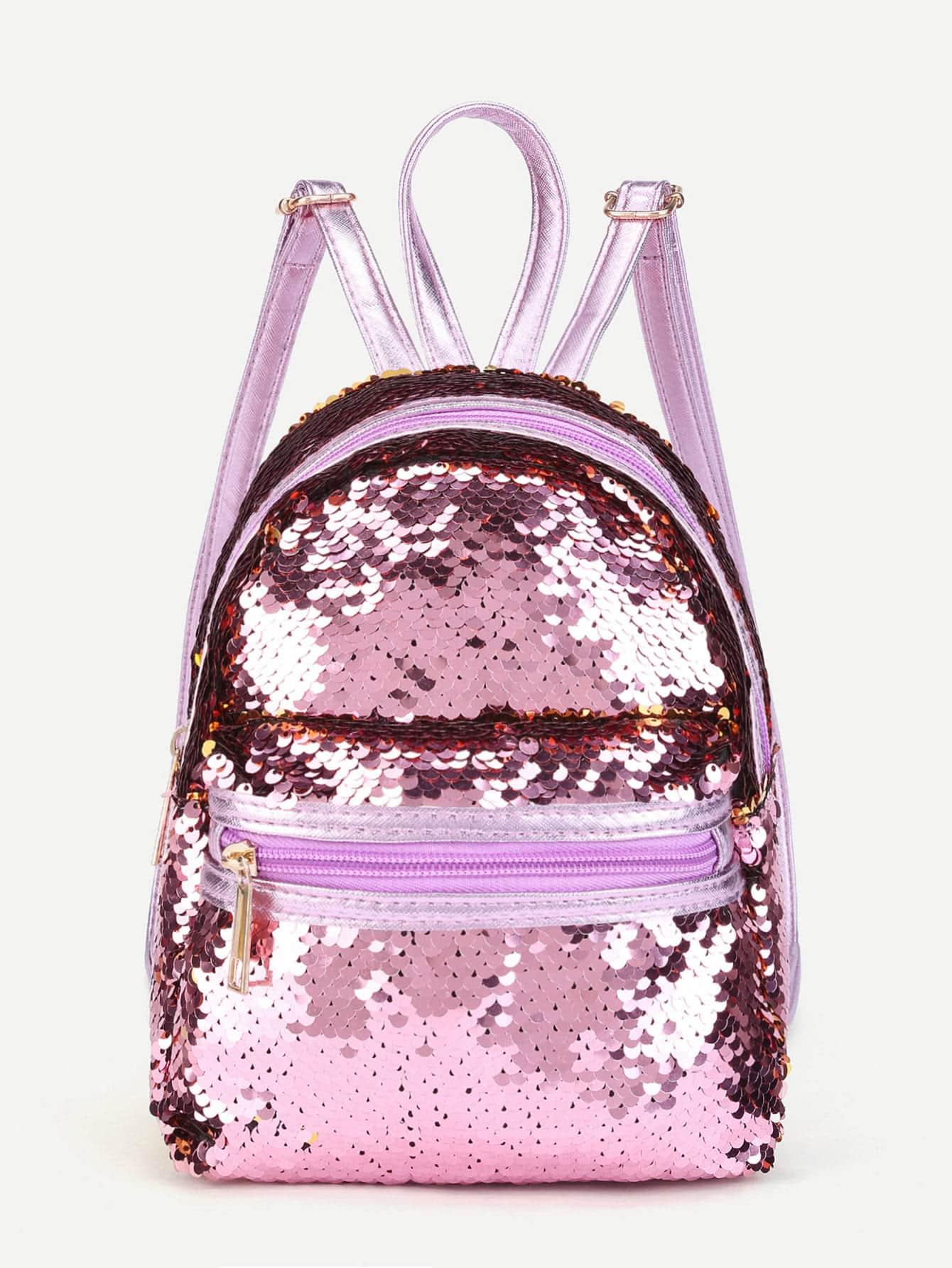 Sequin Overlay Zipper Front Backpack