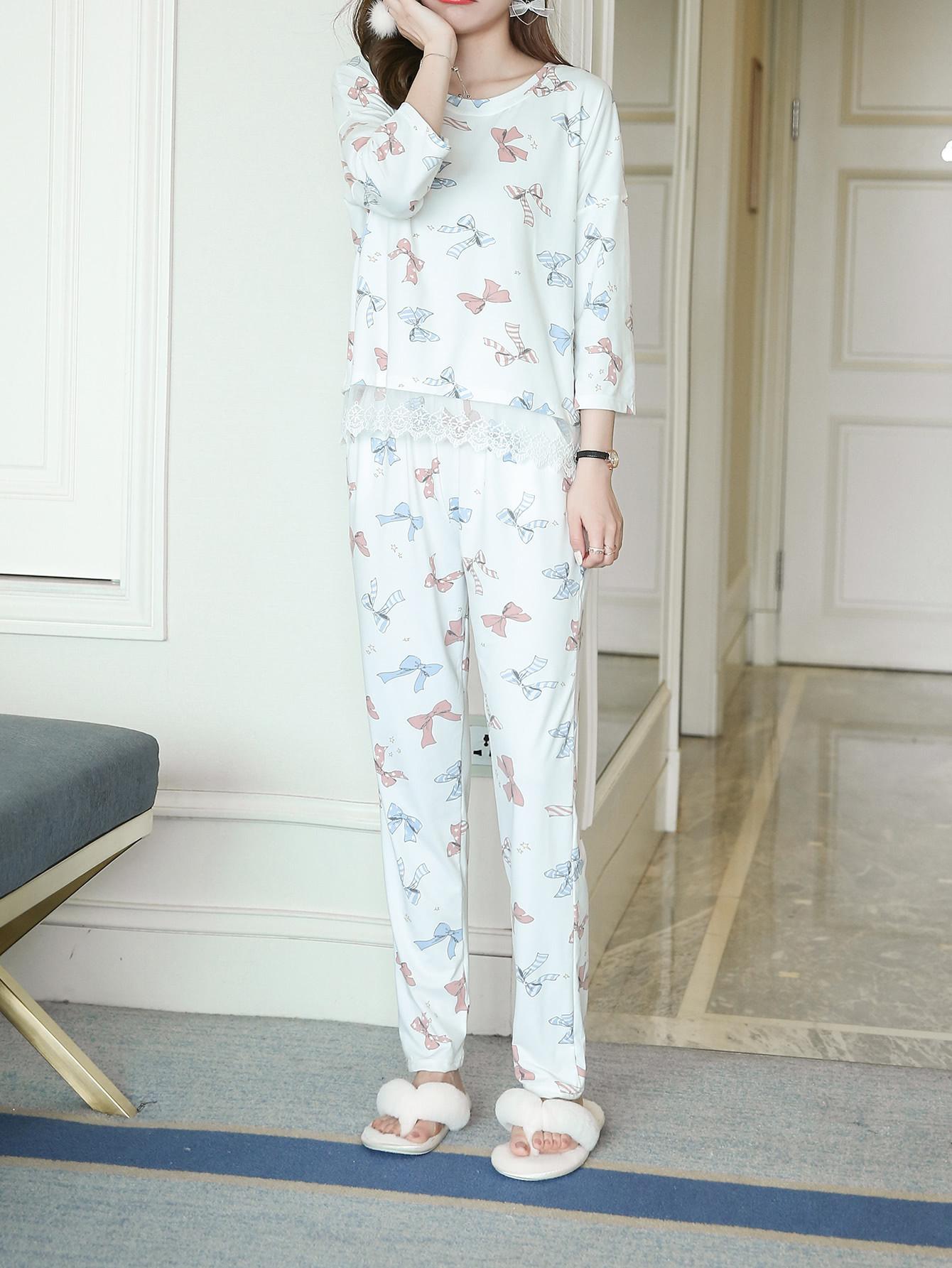 Bow Print Lace Hem Tee & Pants Pj Set