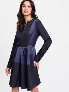 V Notch Front Satin Panel Dress