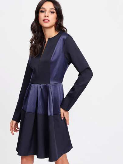 V Notch Front Satin Panel Dress