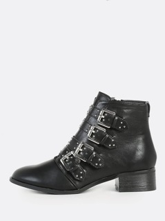 Studded Buckle Booties BLACK
