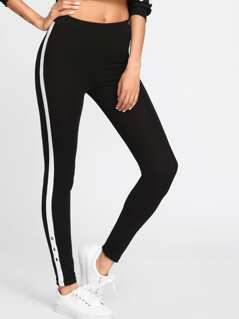 Grommet Detail Contrast Panel Leggings