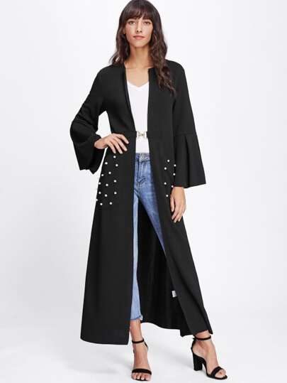 Bell Sleeve Metal Closure Pearl Beading Abaya