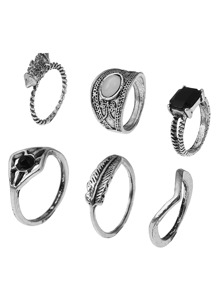 Contrast Gemstone Boho Ring Pack 6pcs