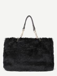 Faux Fur Overlay Tote Bag