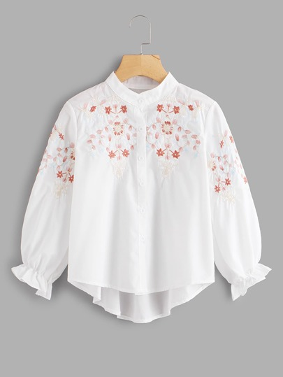 Embroidery Balloon Sleeve High Low Shirt