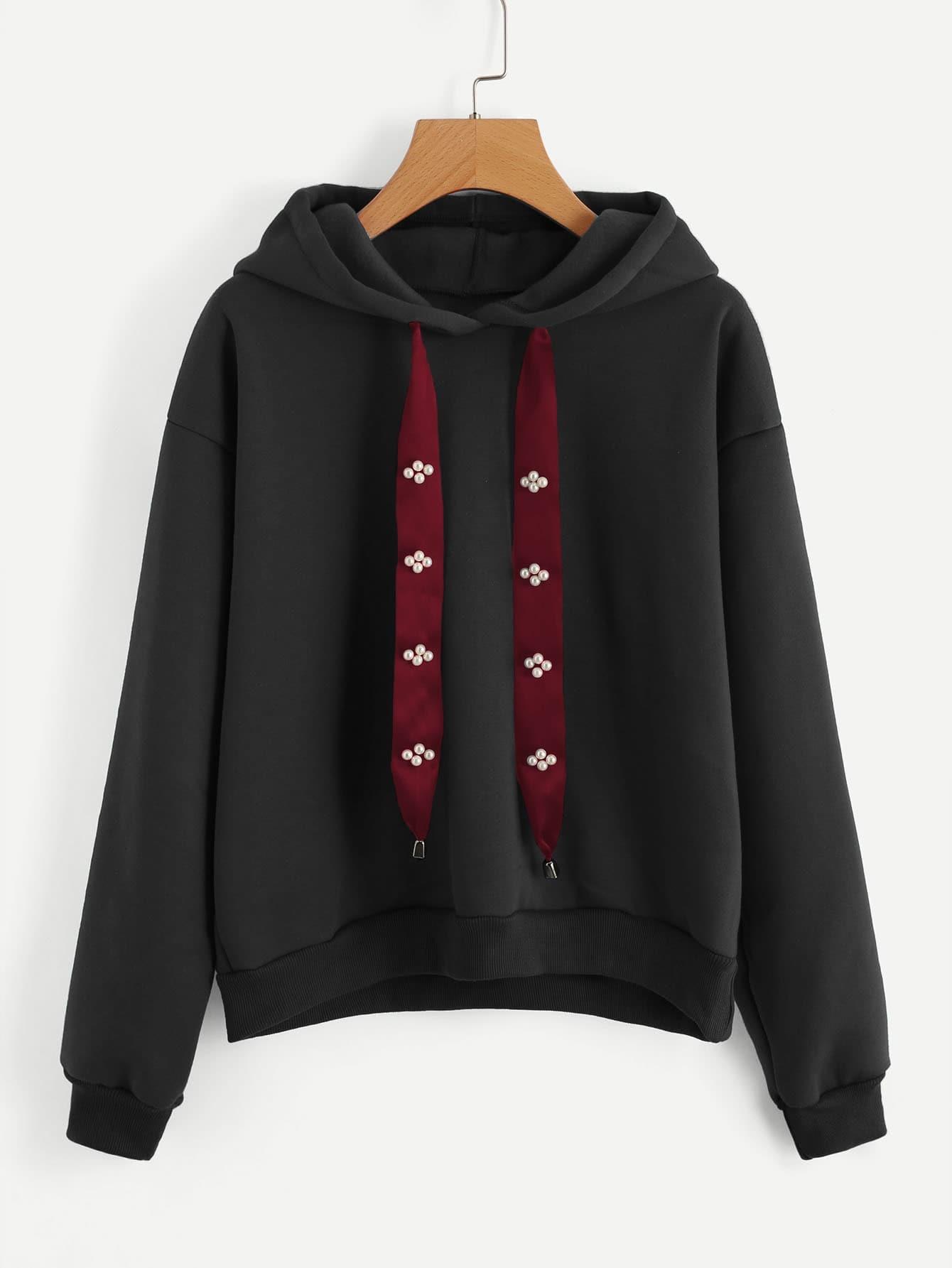 Pearl Beading Ribbon Detail Hoodie tape trim letter ribbon detail raglan hoodie dress