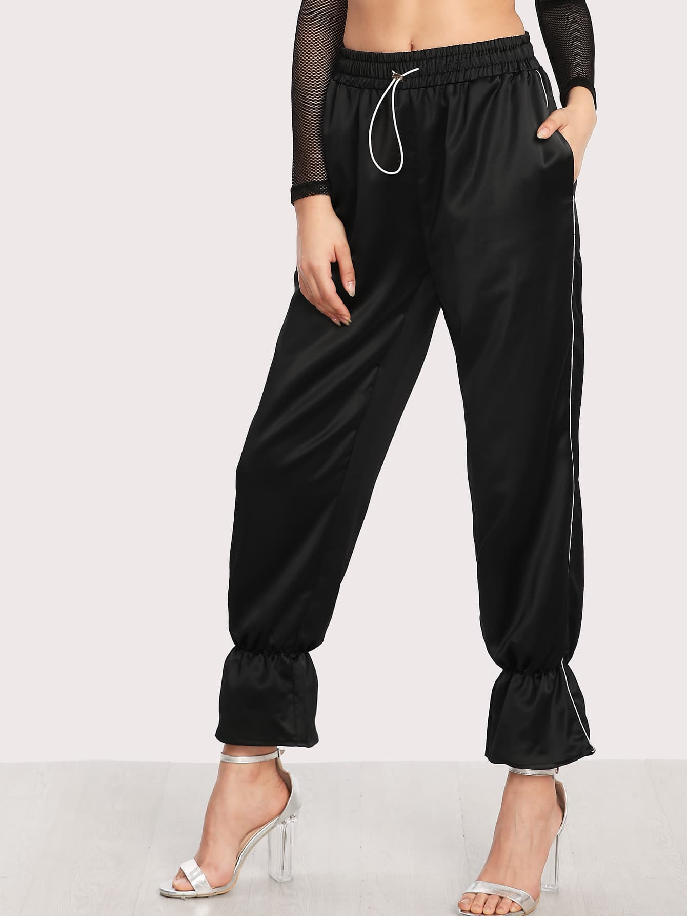Image of Contrast Tipping Bell Hem Pants