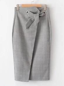 Slit Back Plaid Wrap Skirt