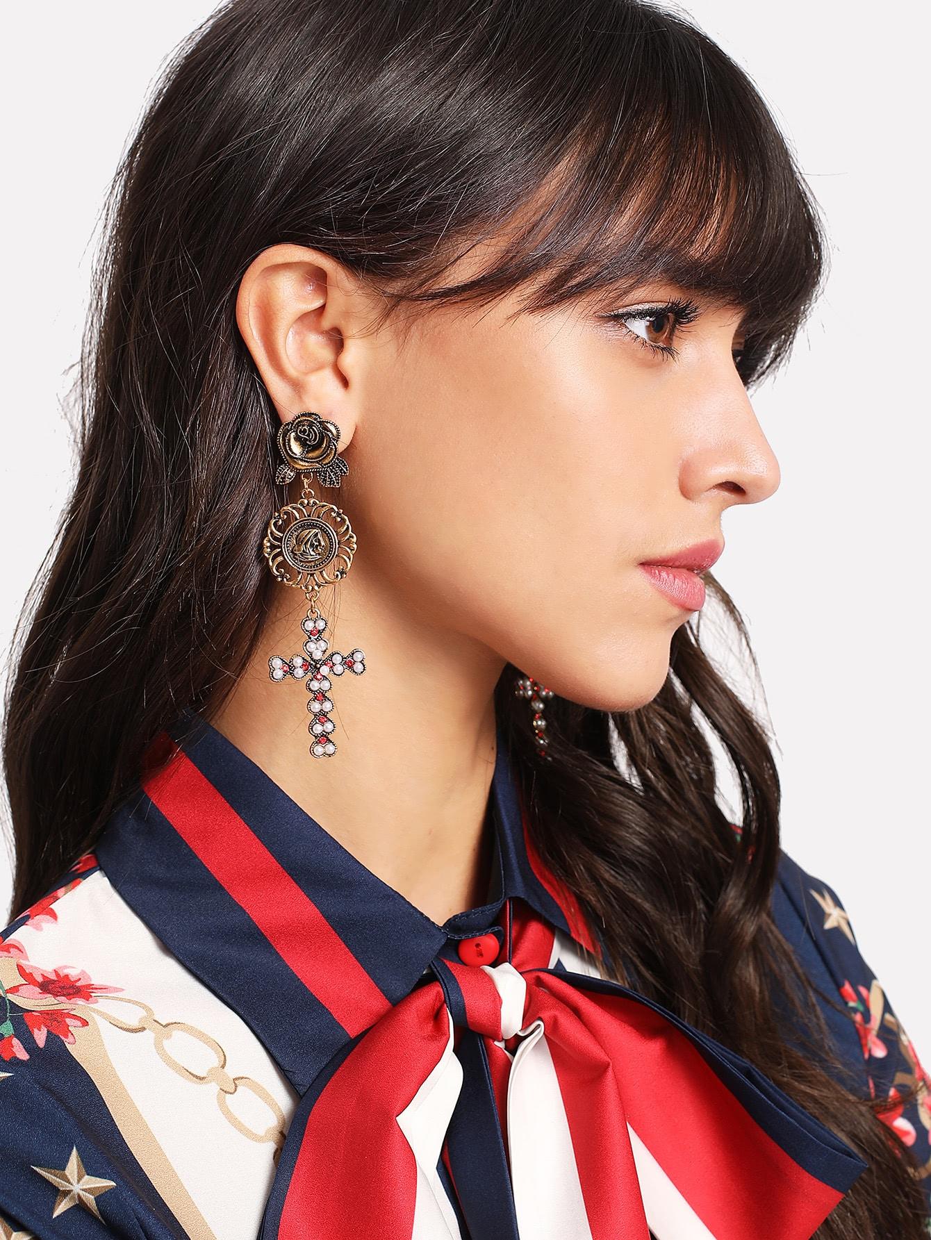 Cross & Rose Design Drop Earrings rose drop earrings