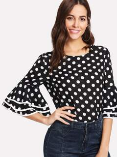 Tiered Bell Sleeve Polka Dot Blouse