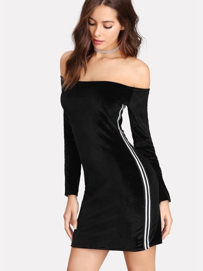 Stripe Tape Detail Bardot Velvet Dress