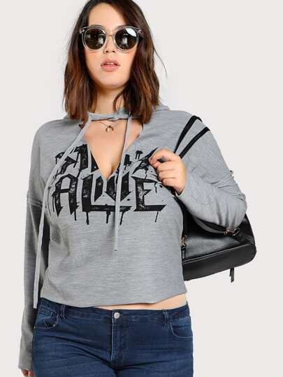 Cut Out Neck Heather Knit Hoodie