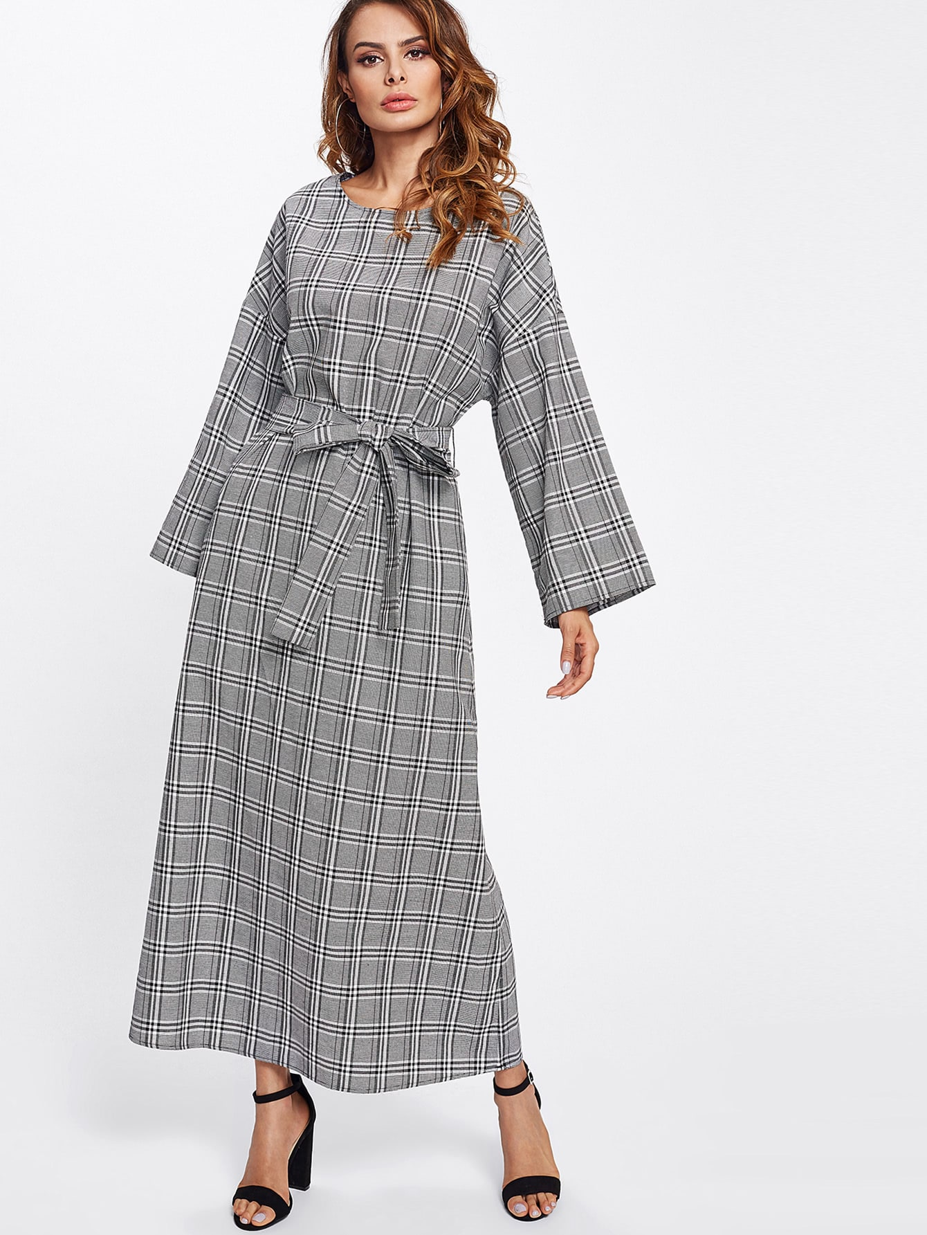 Wide Sleeve Self Tie Plaid Hijab Long Dress