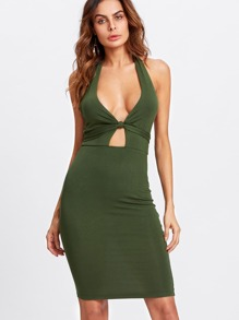 Multi Way Knotted Plunge Neck Dress