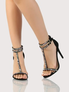 Gem Embellished T Strap Heels BLACK