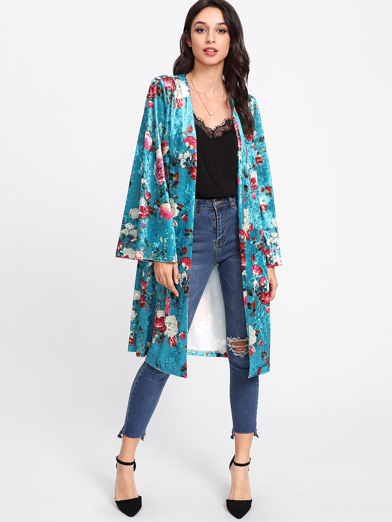 kimono largo de terciopelo con rosa spanish shein sheinside. Black Bedroom Furniture Sets. Home Design Ideas