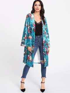 Rose Print Longline Velvet Kimono