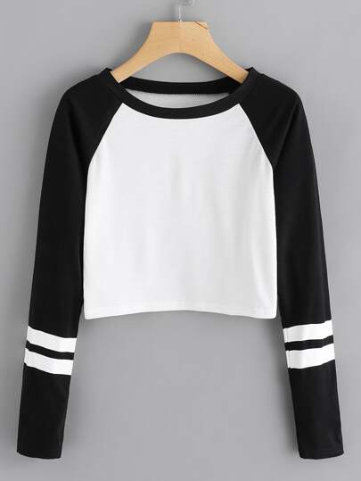 Contrast Sleeve Varsity Striped Crop Tee
