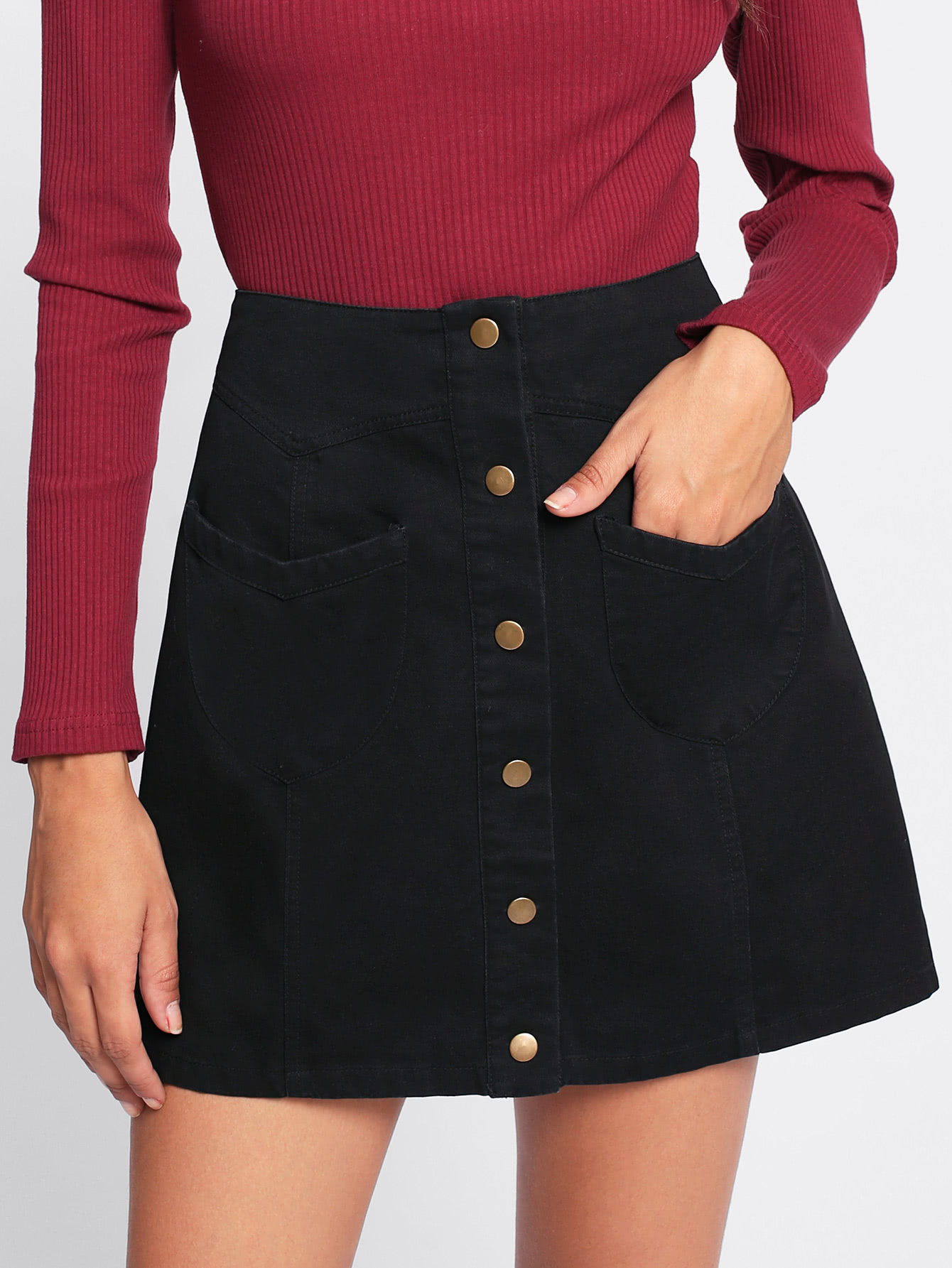 Patch Pocket Button Up Skirt