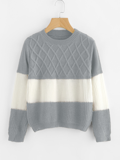 Pull color-block en tricot texturé