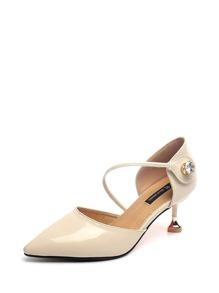 Rhinestone Detail Kitten Heels