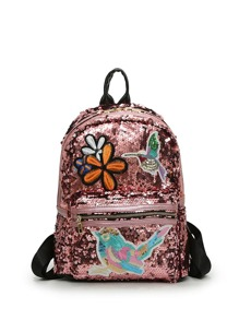 Bird And Floral Embroidered Sequin Backpack