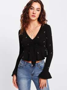 Ruffle Cuff Embroidery Ruched Top
