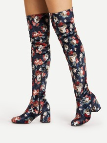 Flower Pattern Over Knee Block Heeled Boots